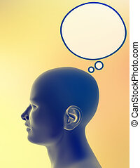 Man alone, with bubble for thoughts above his head. Just add your text or image to the bubble.