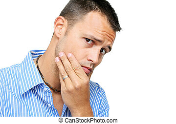 Man Thinking - Man in smark shirt over white thinking