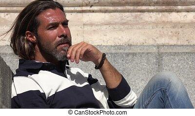 Man Thinking Or Wondering
