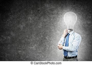 Man thinking over his idea