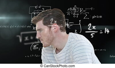 Animation of mathematical equations floating over Caucasian man rubbing his forehead, wondering about something in the background. Science, research and global economy concept digitally composite