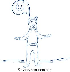 Man thinking positive. Smile happy thought