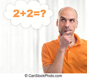 man thinking - handsome bald man thinks in his mind