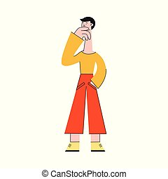 Man thinking vector illustration - confused male character searching for idea or solution of problem.