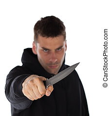 Man threatening with knife - Man threatening with a large...