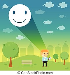 man through the emotional smile resonance on smart phone in the park Vector