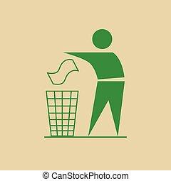 Man Throw Rubbish In Bin Recycle Utilization Logo Web Icon...