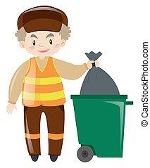 Man throwing garbage in trashcan illustration