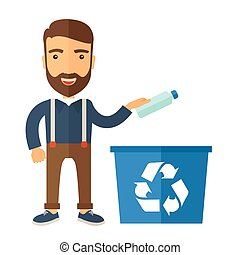 Man throwing plastic container into recycle can - A hipster...