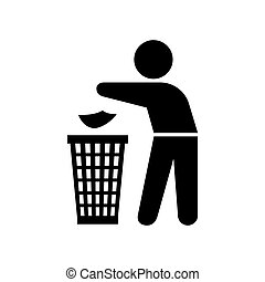 Figure of person throwing garbage into a trash can vector.