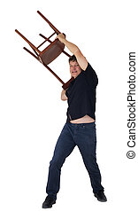 man throws a chair on a white background