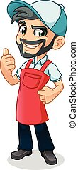 Man Thumbs Up with Car Wash Apron