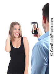 man, tillverkning, fotografera, av, a, flicka, med, a, rörlig telefonera
