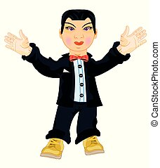 Man to asiatic appearance in fashionable suit - Vector...