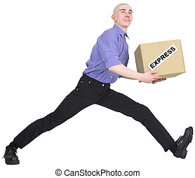 Man to hurry to deliver box on white background