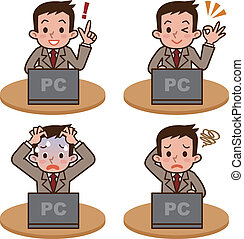 Man to operate the computer