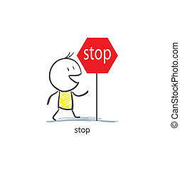 Man To Stop Sign
