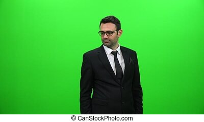 Man Touching a Visual Screen