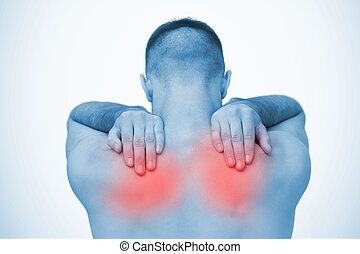 Man touching highlighted sore shoulders in blue tint