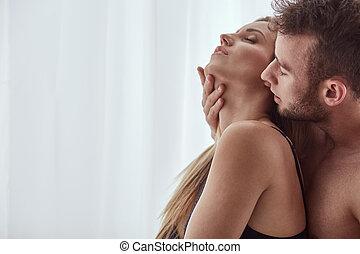 Man touching woman's neck - Handsome man touching beautiful...