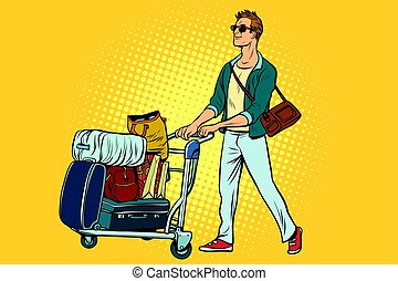 man tourist with Luggage cart