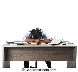 man, trött, av, studera