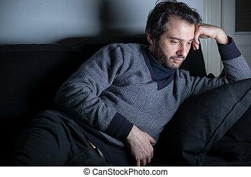 man, trött, och, deprimerat, lögnaktig