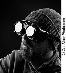 man, tröttsam, skyddande skyddsglasögon