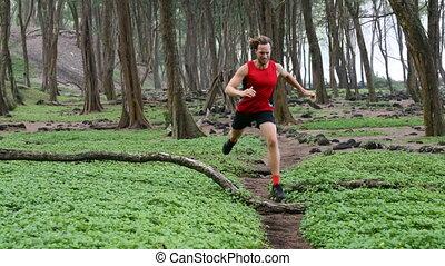 Man Trail Running - Determined Male Runner Athlete Jogging ...