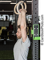 Man training at the gym