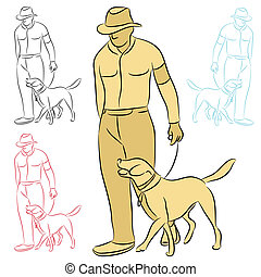 Man Training His Dog - An image of a man training his dog.