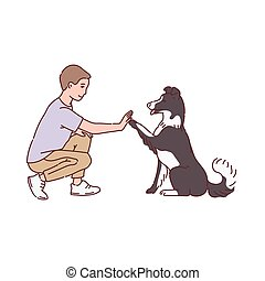 Man training his dog to give a paw, sketch line vector illustration isolated.