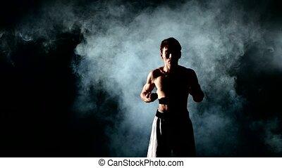 Man training karate or kung fu on black - Man training...