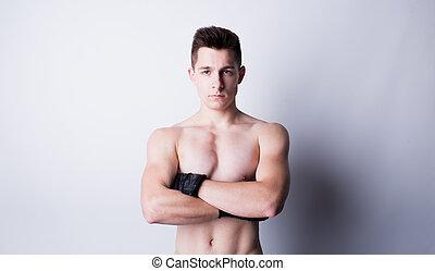 Man training mixed martial arts