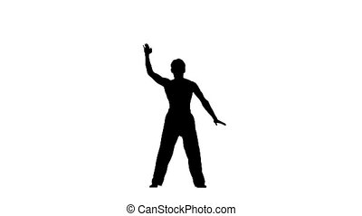 Man training taekwondo or karate Isolated on white,...