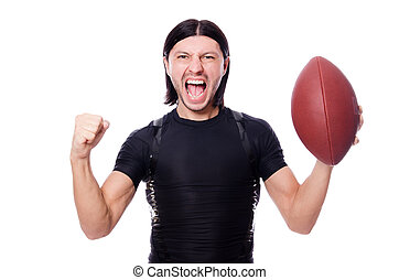 Man training with american football on white