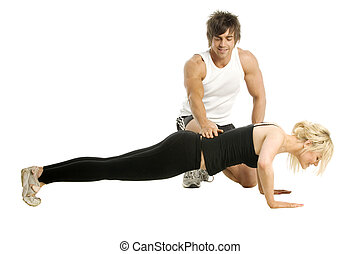 Man training woman isolated on a white background