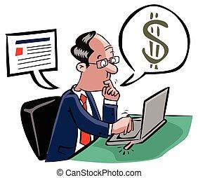 man, transaktion, affär, direkt