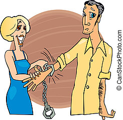 Man trapped by handcuffs - Humorous illustration of man...