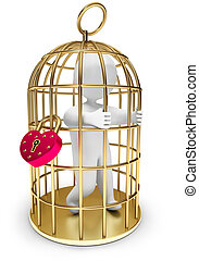 man trapped in a golden cage, on a white background, 3d...