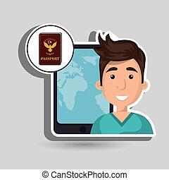 man travel map world