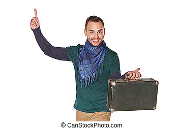 Man traveler pointing finger up with idea