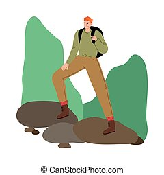 Man traveler standing on stones with backpack and enjoying hiking on nature