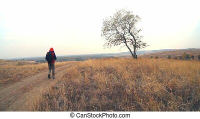 man traveler with a backpack in the autumn is on the way to nature is a solitary tree travel