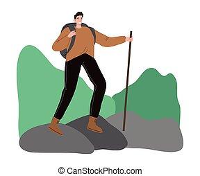 Man traveler with backpack and sticks for walking enjoying hiking on mountains