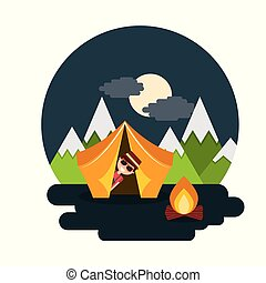 man travelers vacation on tent camping bonfire night landscape