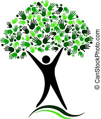 Man Tree Logo Design. Social Network Friends