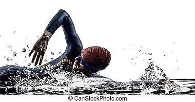 man triathlon iron man athlete swimmers swimming in...