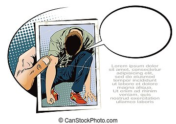 Man tries to get up from his knees. Stock illustration. People in retro style.