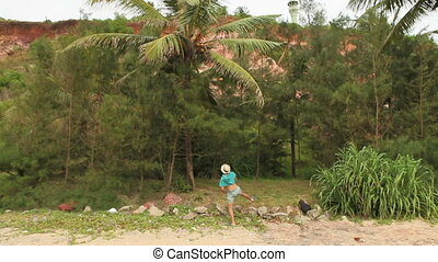 man tries to knock down a coconut from green tree in...